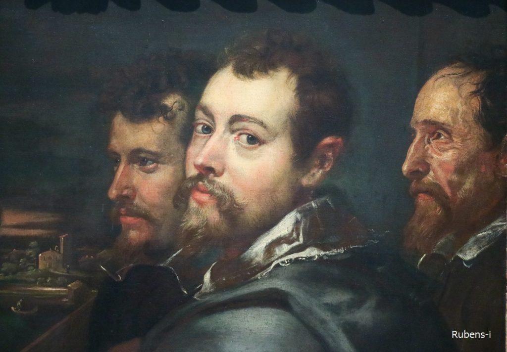ルーベンスの奥に、兄フィリップ、右にはルピシウス教授が描かれています。左には、マントヴァの風景でしょうか。ルーベンスにとって大切な思い出なのでしょう。
